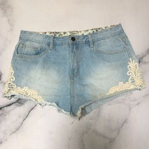 High Rise Shorts with Crochet Accent
